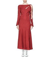 Olivier Theyskens Tessil Bias Cut Asymmetric Maxi Dress Red