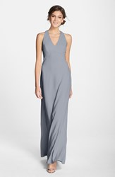 Women's Dessy Collection Back Cutout Crepe Gown Charcoal Grey