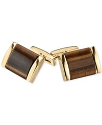Macy's Tiger's Eye Cuff Links In Gold Tone Ion Plated Stainless Steel