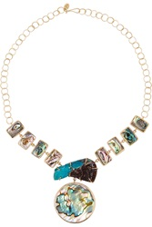 Melissa Joy Manning 14 Karat Gold Shell And Druzy Necklace