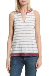 Soft Joie Women's Heather Embroidered Sleeveless Top Porcelain Dark Navy