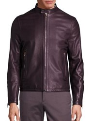 Paul Smith Sheep Leather Zip Front Jacket Burgundy