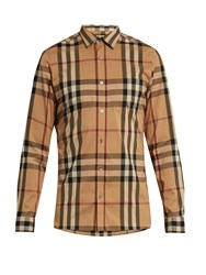 Burberry House Check Cotton Blend Shirt Beige Multi