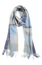 Women's Nordstrom Plaid Cashmere Scarf Blue Blue Chambray Combo