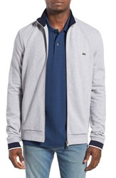 Lacoste Men's Pique Zip Track Jacket Silver Chine Navy