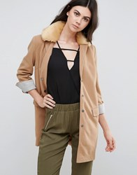 Love And Other Things Slim Line Coat Tan