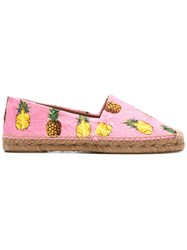 Dolce And Gabbana Pineapple Print Brocade Espadrilles Pink Purple