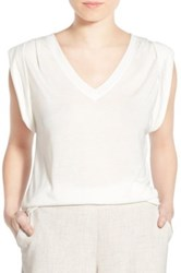 Trouve Shoulder Pleat Sleeveless Tee White