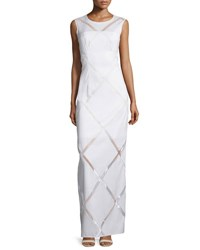 Milly Sleeveless Grid Print Column Gown White