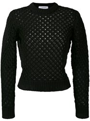 Carven Holey Knit Sweater Women Cotton Nylon Xs Black