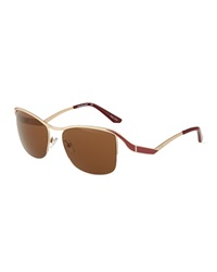 Thierry Mugler Square Metal Sunglasses Bronze Red