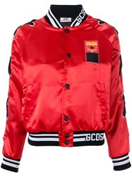 Gcds Buttoned Bomber Jacket Red