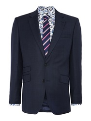 New And Lingwood Check Tailored Fit Suit Jackets Navy