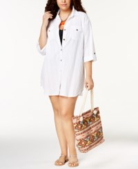 Dotti Plus Size Cotton Cabana Life Shirtdress Cover Up Women's Swimsuit White