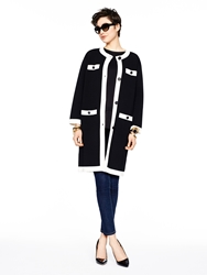 Kate Spade Head In The Clouds Colorblock Scuba Coat Black Cream