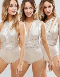 Goddiva Multiway Swimsuit Champagne Gold