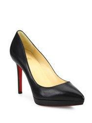 Christian Louboutin Leather Point Toe Platform Pumps Black