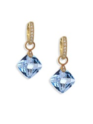 Jude Frances Classic Sky Blue Topaz Diamond And 18K Yellow Gold Cushion Earring Charms Gold Blue