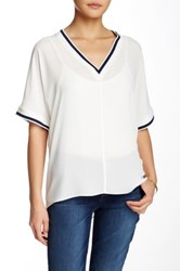 Zoa Contrast Trim V Neck Blouse White