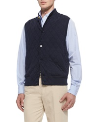 Loro Piana Horsey Cashmere Blend Sweater Vest Navy