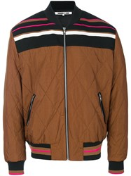Mcq By Alexander Mcqueen Stripe Panel Bomber Jacket Men Polyamide Polyester 50 Brown