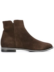 Le Silla Embellished Sole Ankle Boots Brown