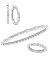 Victoria Townsend Diamond 3 Pc Set 1 4 Ct. T.W. Bamboo Look Bangle Ring And Hoop Earrings In 18K Yellow Or Rose Gold Plated Sterling Silver Or Sterling Silver