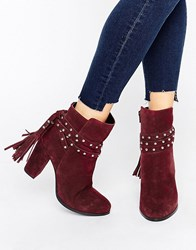 Faith Bethany Tie Back Heeled Ankle Boots Grenadine Red
