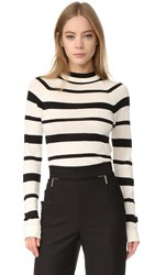 Lela Rose Long Sleeve Sweater Black Ivory