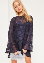 Missguided Blue Jacquard Flute Sleeve Swing Dress