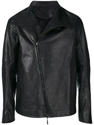 Masnada Off Centre Zip Jacket Men Calf Leather 50 Black