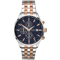 Sekonda 1107.27 Men's Velocity Two Tone Stainless Steel Chronograph Bracelet Strap Watch Silver Rose Gold