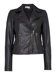 Label Lab Elba Leather Biker Jacket Black