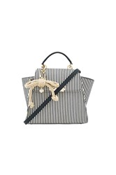 Zac Posen Eartha Iconic Convertible Striped Canvas Backpack Navy