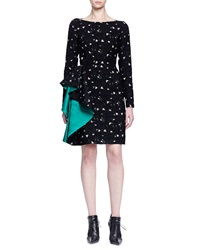 Lanvin Contrast Cascading Ruffle Fil Coupe Dress