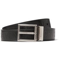 Givenchy 3Cm Black Reversible Embossed Smooth And Full Grain Leather Belt Black
