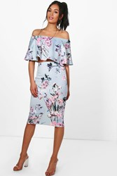 Boohoo Floral Off The Shoulder Crop And Skirt Co Ord Multi