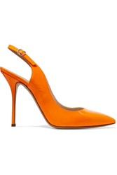 Casadei Neon Patent Leather Slingback Pumps Orange