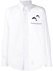 Thom Browne Dolphin Embroidered Button Up Shirt 60