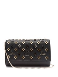 Christian Louboutin Paloma Embellished Leather Clutch Black Gold