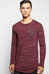 Boohoo Space Knit Jumper With Double Zip Scoup Hem Wine