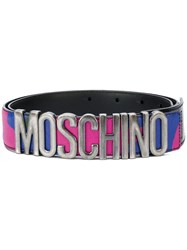 Moschino Logo Plaque Belt Calf Leather Metal Other Pink Purple