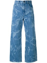 Sonia Rykiel By High Rise Cropped Flared Jeans Women Cotton Polyester Spandex Elastane 38 Blue