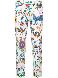 Milly Floral Print Cropped Trousers Women Cotton Spandex Elastane 6 White