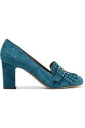 Tabitha Simmons Ethel Embellished Suede Pumps Teal