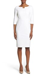 Women's Classiques Entier Notch Neck Ponte Sheath Dress White