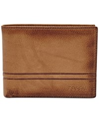 Fossil Men's Watts Leather Bifold With Flip Id Cognac
