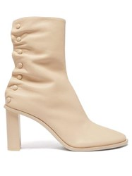 The Row Tea Time Leather Ankle Boots Beige