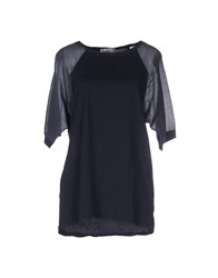 Peacock Blue Topwear T Shirts Women Dark Blue