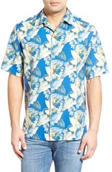 Men's Tommy Bahama 'Byron Blooms' Regular Fit Short Sleeve Silk And Cotton Camp Shirt Colonial Blue